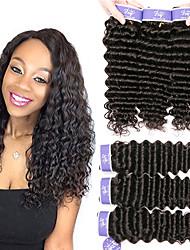hesapli -6 Demetleri Orta Dalgalı Malezya Saçı Derin Dalga İşlenmemiş Gerçek Saç % 100 Remy Saç Örgü Demetleri Başlık İnsan saç örgüleri One Pack Çözümü 8-28 inç Doğal Renk İnsan saç örgüleri Kokusuz Yumuşak