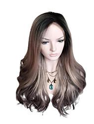 halpa -Synteettiset peruukit Runsaat laineet Tyyli Keskiosa Suojuksettomat Peruukki Vaaleahiuksisuus Vaalea kulta Synteettiset hiukset 26 inch Naisten Color Gradient Vaaleahiuksisuus Peruukki Pitkä