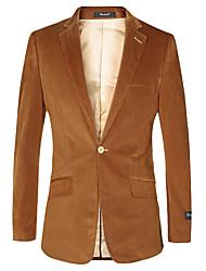 preiswerte -Braun Solide Weite Passform Polyster Anzug - Fallendes Revers Einreiher - 1 Knopf