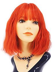 halpa -Synteettiset peruukit Kihara Tyyli Keskiosa Suojuksettomat Peruukki Punainen Oranssi Synteettiset hiukset 12 inch Naisten Youth Punainen / Ruusun vaaleanpunainen Peruukki Keskipitkä Luonnollinen