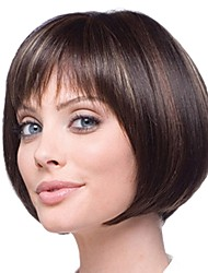 cheap -Synthetic Wig / Bangs / Highlighted Hair kinky Straight Style Bob Capless Wig Brown Brown / Burgundy Synthetic Hair 14 inch Women's Smooth / Women / Synthetic Brown Wig Medium Length Natural Wigs