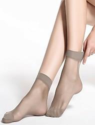 Недорогие -Жен. Тонкая ткань Носки - Однотонный 15D Черный Серый Светло-коричневый Один размер