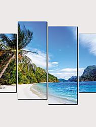 Недорогие -С картинкой Роликовые холсты - Пляж Звезды и планеты Классика Modern 4 панели