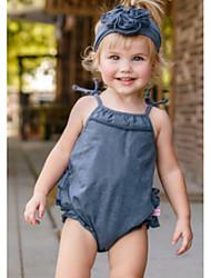 お買い得  -赤ちゃん 女の子 活発的 / ベーシック ソリッド レースアップ ノースリーブ コットン ワンピース ネイビーブルー