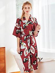 رخيصةأون -نسائي ساتان و حرير ملابس نوم شريطة / محاك بربطات / طباعة, ورد / ألوان متناوبة