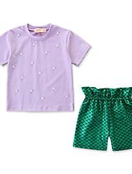 Χαμηλού Κόστους -Παιδιά / Νήπιο Κοριτσίστικα Ενεργό / Βασικό Στάμπα Κοντομάνικο Κανονικό Βαμβάκι / Spandex Σετ Ρούχων Πράσινο του τριφυλλιού