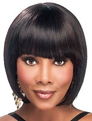 cheap -Synthetic Wig / Bangs Afro / kinky Straight Style Bob Capless Wig Dark Brown Brown / Burgundy Synthetic Hair 12 inch Women's Fashionable Design / Smooth / Women Dark Brown Wig Short Natural Wigs
