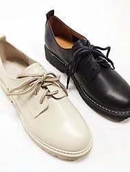 رخيصةأون -نسائي Leather نابا الربيع أوكسفورد كعب مسطخ أسود / البيج