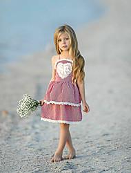 お買い得  -幼児 女の子 甘い ストリートファッション チェック レース バックレス ノースリーブ 膝上 コットン ポリエステル スパンデックス ドレス ルビーレッド