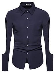 preiswerte -Herrn Einfarbig Hemd Schwarz L