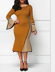 baratos -Mulheres Elegante Bainha Vestido Estampa Colorida Altura dos Joelhos