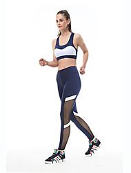 voordelige -Dames Patchwork Yoga pak Zwart Blauw Sport Kleurenblok Sportoutfits Yoga Gym training Mouwloos Sportkleding Ademend Sneldrogend Zweetafvoerend Power Flex Hoge Elasticiteit