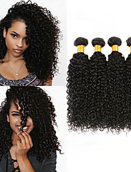 cheap -4 Bundles Peruvian Hair Kinky Curly 100% Remy Hair Weave Bundles Natural Color Hair Weaves / Hair Bulk Bundle Hair Human Hair Extensions 8-28inch Natural Color Human Hair Weaves Newborn Simple Odor