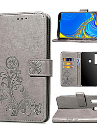 Недорогие -Кейс для Назначение SSamsung Galaxy A6 (2018) / A6+ (2018) / Galaxy A7(2018) Бумажник для карт / со стендом / Магнитный Чехол Цветы Твердый Кожа PU