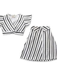 levne -Děti / Toddler Dívčí Aktivní / Základní Proužky Tisk Bez rukávů Krátké Bavlna / Spandex Sady oblečení Černá