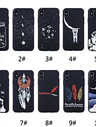 olcso -Case Kompatibilitás Apple iPhone XR / iPhone XS Max Jeges / Minta Fekete tok Szó / bölcselet / Állat / Rajzfilm Puha TPU mert iPhone XS / iPhone XR / iPhone XS Max