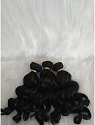 halpa -Letitetty Kihara Kudotut Aidot hiukset 3 osainen punokset Musta 14 inch 14 tuumaa Naisten / extention / Youth Koulu / Festivaali Malesialainen