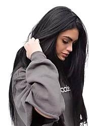 Χαμηλού Κόστους -Συνθετικές Περούκες Κατσαρά Ίσια / Φυσικό ευθεία Στυλ Μέσο μέρος Χωρίς κάλυμμα Περούκα Μαύρο Κατάμαυρο Μπεζ Συνθετικά μαλλιά 24 inch Γυναικεία / Φυσική γραμμή των μαλλιών / Φυσική γραμμή των μαλλιών