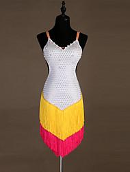 お買い得  -ラテンダンス ドレス 女性用 性能 スパンデックス パール装飾 / タッセル / クリスタル / ラインストーン ノースリーブ ドレス