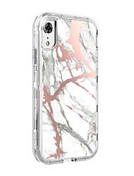olcso -BENTOBEN Case Kompatibilitás Apple iPhone XR Ütésálló / Átlátszó / Minta Fekete tok Márvány Kemény TPU / PC mert iPhone XR