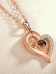 preiswerte -Damen Klar Halskette Künstlerisch lieblich Silber Rotgold 41.3 cm Modische Halsketten Schmuck 1pc Für Alltag