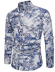 Недорогие -Муж. С принтом Рубашка Геометрический принт Белый XXXL