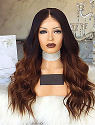 cheap -Synthetic Wig Deep Wave Style Middle Part Capless Wig Dark Brown Black / Brown Synthetic Hair 28 inch Women's Color Gradient Dark Brown Wig Long Natural Wigs