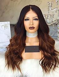 halpa -Synteettiset peruukit Syvät aallot Tyyli Keskiosa Suojuksettomat Peruukki Tummanruskea Musta / Ruskea Synteettiset hiukset 28 inch Naisten Color Gradient Tummanruskea Peruukki Pitkä Luonnollinen