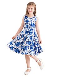 お買い得  -子供 女の子 ヴィンテージ かわいいスタイル フラワー プリント ノースリーブ 膝丈 コットン ドレス ブルー