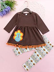 זול -סט של בגדים שרוול ארוך דפוס בנות ילדים / פעוטות