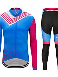 お買い得  -MUBODO 男性用 長袖 タイツ付きサイクリングジャージー スカイブルー バイク スーツウェア 高通気性 速乾性 反射性ストリップ スポーツ メッシュ マウンテンサイクリング ロードバイク 衣類 / 伸縮性あり