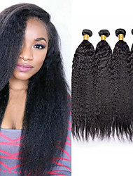 cheap -4 Bundles Peruvian Hair kinky Straight Unprocessed Human Hair Natural Color Hair Weaves / Hair Bulk Bundle Hair Human Hair Extensions 8-28inch Natural Color Human Hair Weaves Odor Free Dancing Thick