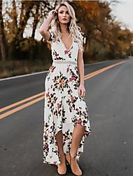 رخيصةأون -فستان نسائي متموج أناقة الشارع أنيق بدون ظهر طباعة طول الركبة ورد