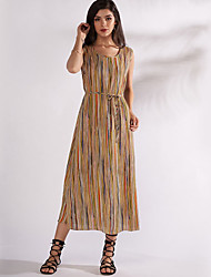 رخيصةأون -فستان نسائي A line أساسي طباعة ميدي مخطط