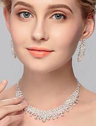 baratos -Mulheres Branco pequeno diamante Clássico Conjunto de jóias Alegria Elegante Incluir Colar Brinco Branco Para Casamento Festa Noivado Presente