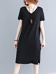 Недорогие -Жен. Классический Оболочка Платье - Однотонный Средней длины