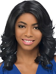 cheap -Natural Color Hair Weaves / Hair Bulk / Synthetic Wig / Bangs Curly / Spiral Curl Style Side Part Capless Wig Black Black / Gold Synthetic Hair 18 inch Women's Fashionable Design / Women / Synthetic