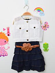 זול -סט של בגדים ללא שרוולים אחיד בנות ילדים / פעוטות