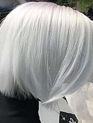 abordables -Accesorios para Disfraz / Pelucas sintéticas Clásico / Heterosexual Estilo Corte Bob Sin Tapa Peluca Blanco Blanco Pelo sintético 12 pulgada Mujer sintético / Encantador / Moda Blanco Peluca Corta