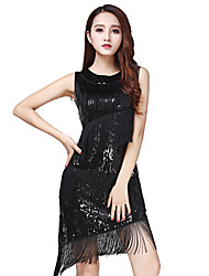 cheap -Latin Dance Dresses Women's Training / Performance Tulle Tassel / Tiered / Paillette Dress