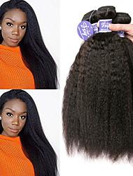 billige -3 Bundler Indisk hår Yaki Straight Ubehandlet Menneskehår 100% Remy Hair Weave Bundles Hovedstykke Menneskehår, Bølget Bundle Hair 8-28 inch Naturlig Menneskehår Vævninger Sikkerhed Blød Bedste