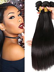 olcso -3 csomag Brazil haj Egyenes Szűz haj Az emberi haj sző Bundle Hair Egy Pack Solution 8-28 hüvelyk Természetes szín Emberi haj sző Szagmentes Sima Legjobb minőség Human Hair Extensions Női