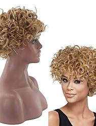 voordelige -Synthetische pruiken Gekruld Stijl Middelste stuk Zonder kap Pruik Blond Lichtgoud Synthetisch haar 8 inch(es) Dames Dames Blond Pruik Kort Natuurlijke pruik