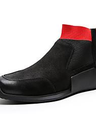 levne -Pánské Komfortní boty Nappa Leather Zima Boty Kotníčkové Černá