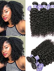 Недорогие -6 Связок Перуанские волосы Kinky Curly Необработанные натуральные волосы Человека ткет Волосы Пучок волос One Pack Solution 8-28 дюймовый Естественный цвет Ткет человеческих волос