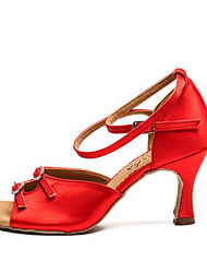 olcso -Női Latin cipők Szatén Magassarkúk Kúpsarok Dance Shoes Kávé / Piros / Meztelen