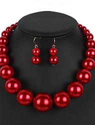 povoljno -Žene Geometrijski Nakit Set Imitacija bisera Jednostavan, slatko, Moda, Slatka Style, Elegantno uključiti Ogrlica Naušnica Igazgyöngy nyaklánc Crvena / Tamno crvena / Crna / Bijela Za Vjenčanje Party
