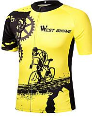 Недорогие -Муж. С короткими рукавами Велокофты Желтый Велоспорт Джерси Верхняя часть Дышащий Быстровысыхающий Виды спорта Спандекс Горные велосипеды Шоссейные велосипеды Одежда / Слабоэластичная / SBS молнии