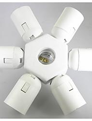 billiga -1st E27 till 6 + 1 E27 E26 / E27 100-240 V Omvandlare Plast Lampa sockel