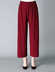 baratos -Mulheres Básico / Boho Perna larga Calças - Sólido Cinzento